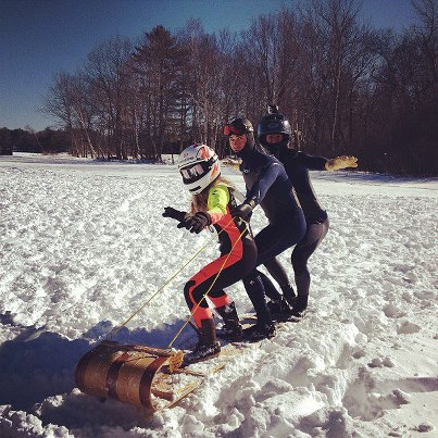 Surfs up, sleds down. #tobogganchampionships #toboggan #winter #fun #maine