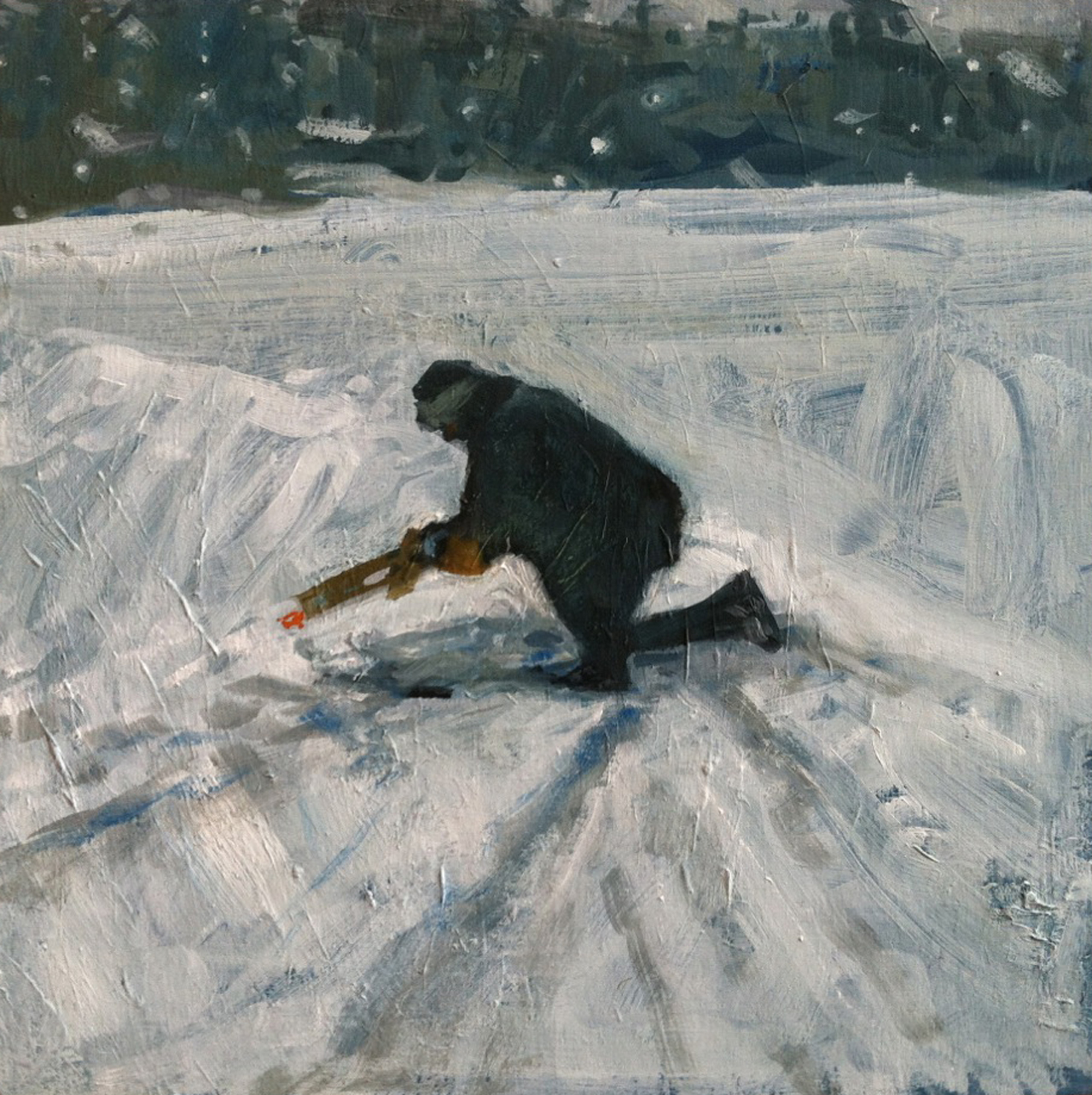 Dad Checks A Line // oil on panel // 10 x 10 inches // 2013