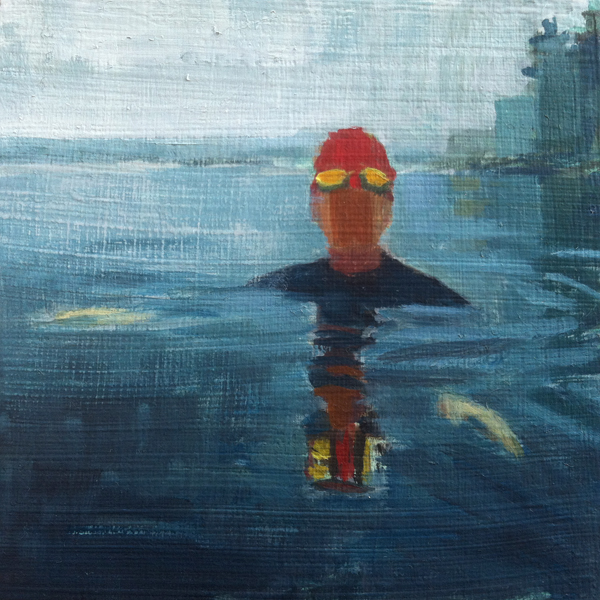 Foggy Morning, Treading Water // oil on panel // 4 x 4 inches