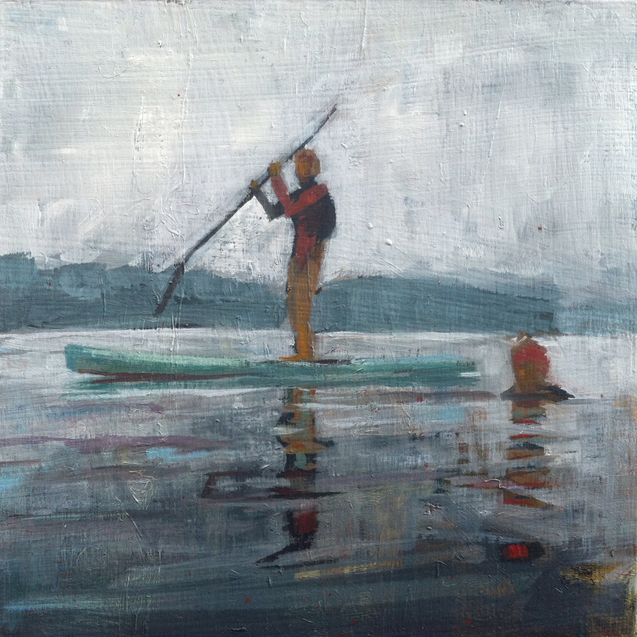 Paddler, Swimmer // oil on panel // 6 x 6 inches