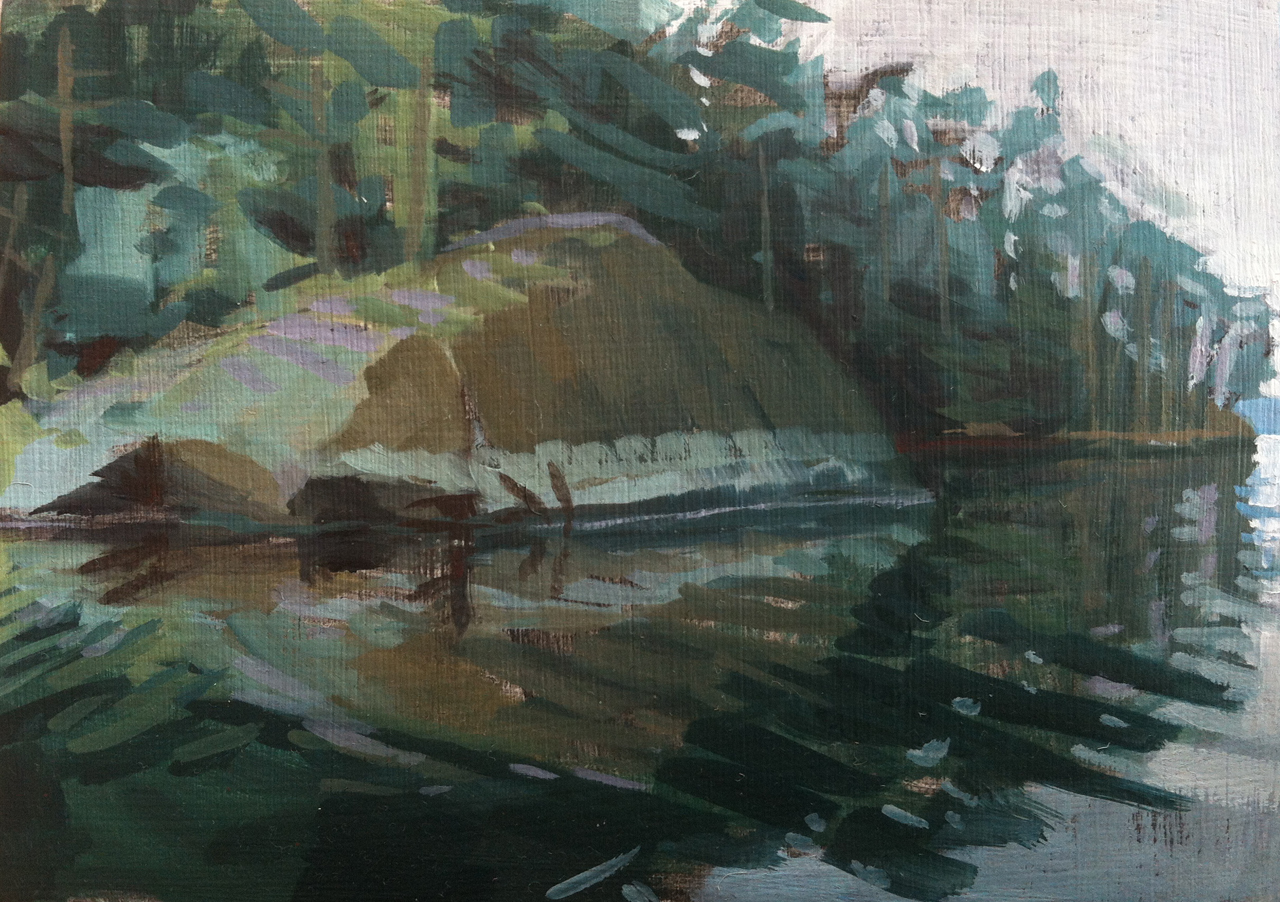 Fernald's Neck, Rock // oil on canvas // 5 x 7 inches