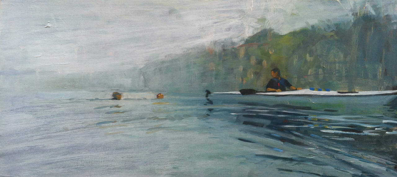 Six Miles: Swimmers & Paddler // oil on panel // 10 x 22 inches