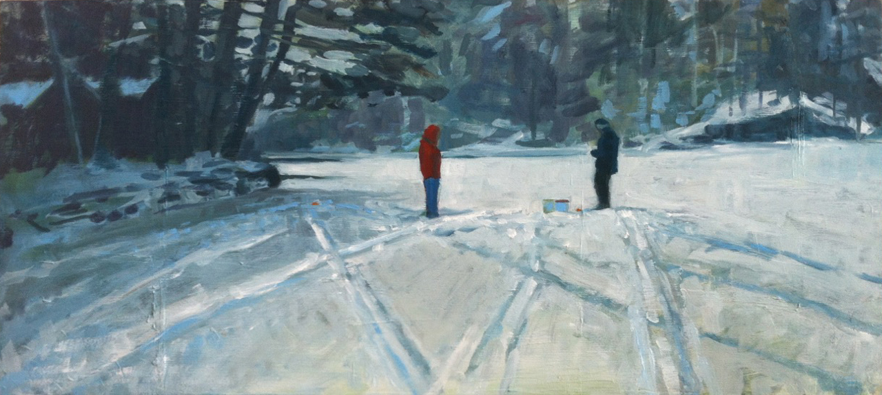 Tim & Dad, Ice Fishing // oil on panel // 10 x 22 inches // 2013