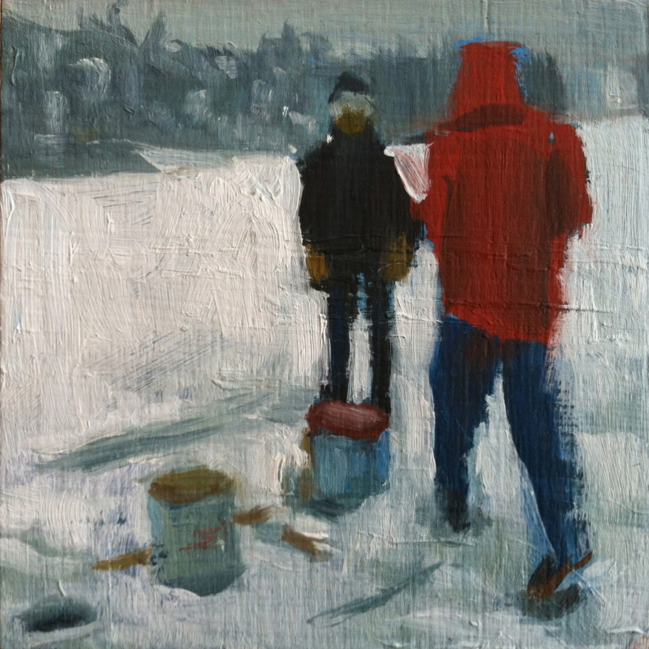 Dad & Tim Ice Fishing // oil on panel // 4 x 4 inches // 2013