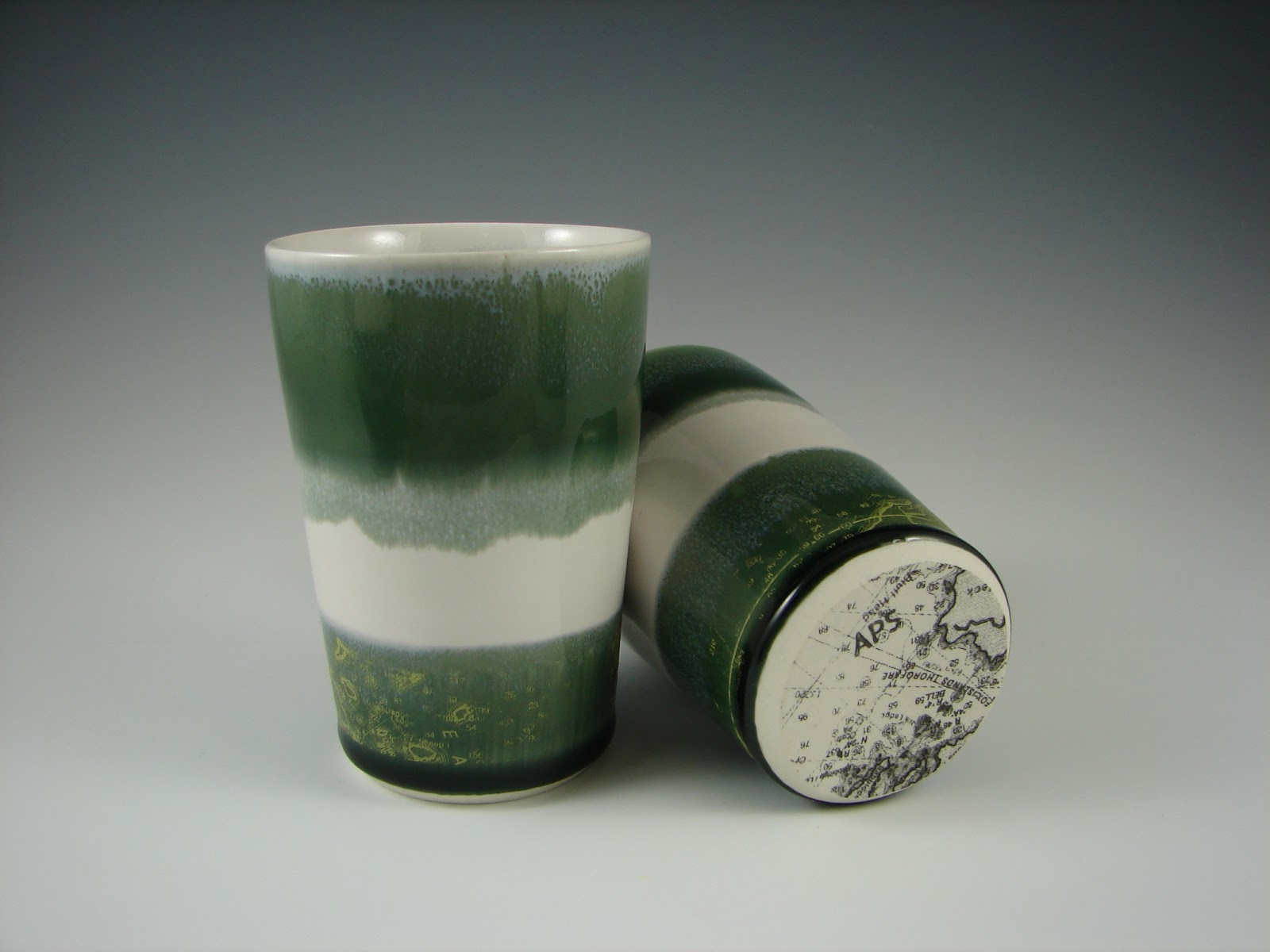 10oz. Cups, porcelain and decals, H. 4.5'', 2013.