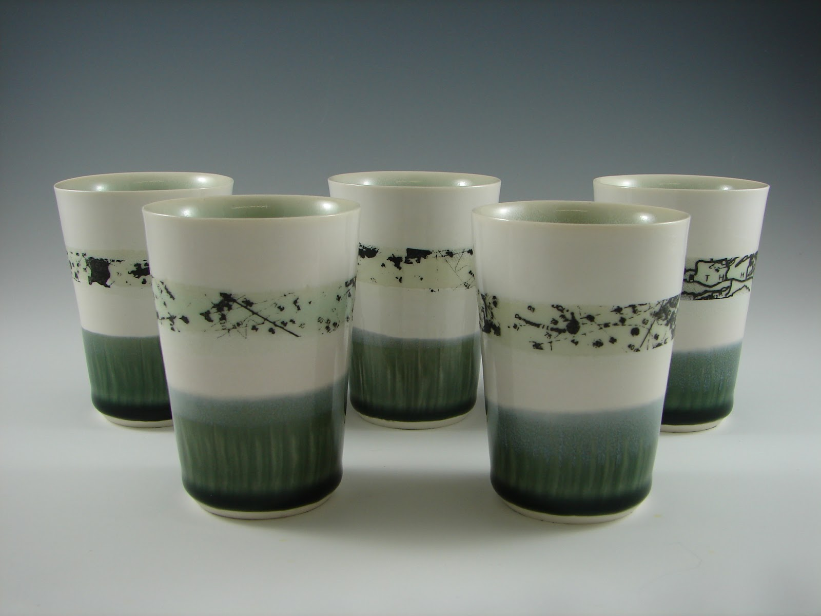 4oz. Cups, porcelain and decals, H. 3.5'', 2012.