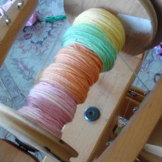 Keep joining the new colors all on one bobbin.