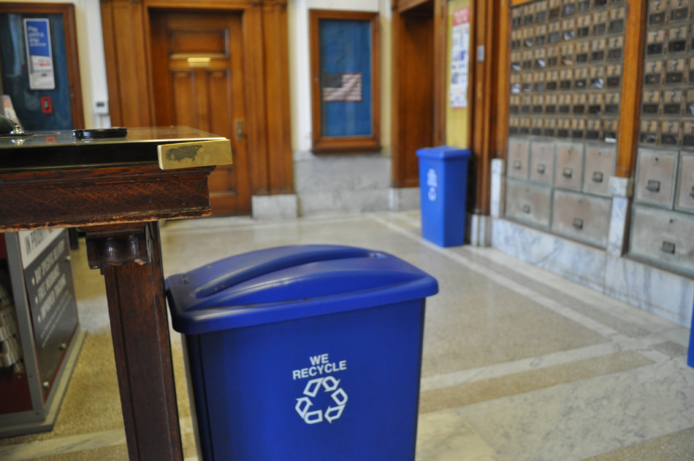 Recycle bins at Bar Harbor postoffice