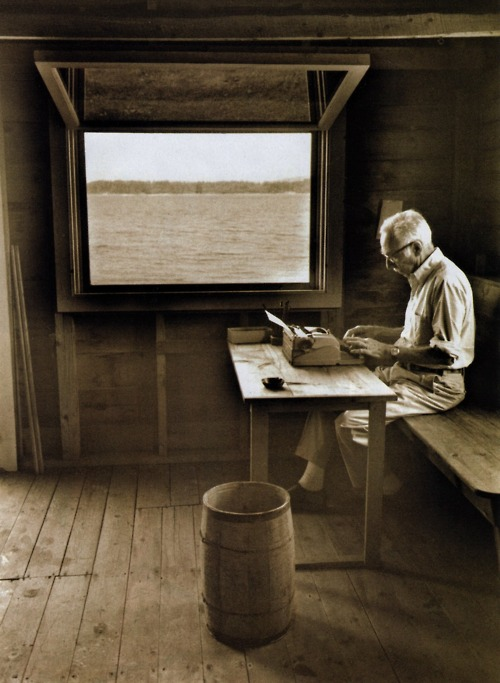 E.B. White in his boathouse in Allen Cove, Maine. Photo by Jill Krementz.