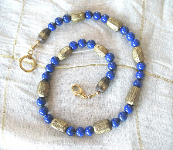 Lapis and Ethiopian Brass bead necklace from Jeweled Horizons