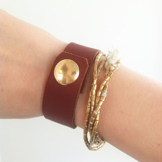 Leather cuff from Guapa, Ethiopian brass beads from Jeweled Horizons.