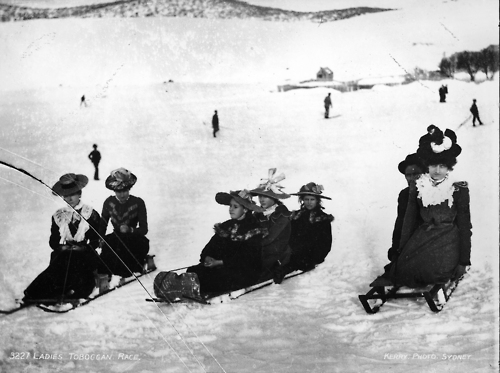 Ladies Toboggan Race (circa 1900), from the Tyrrell Photographic Collection, Powerhouse Museum. A particularly mean looking competitor to the right.