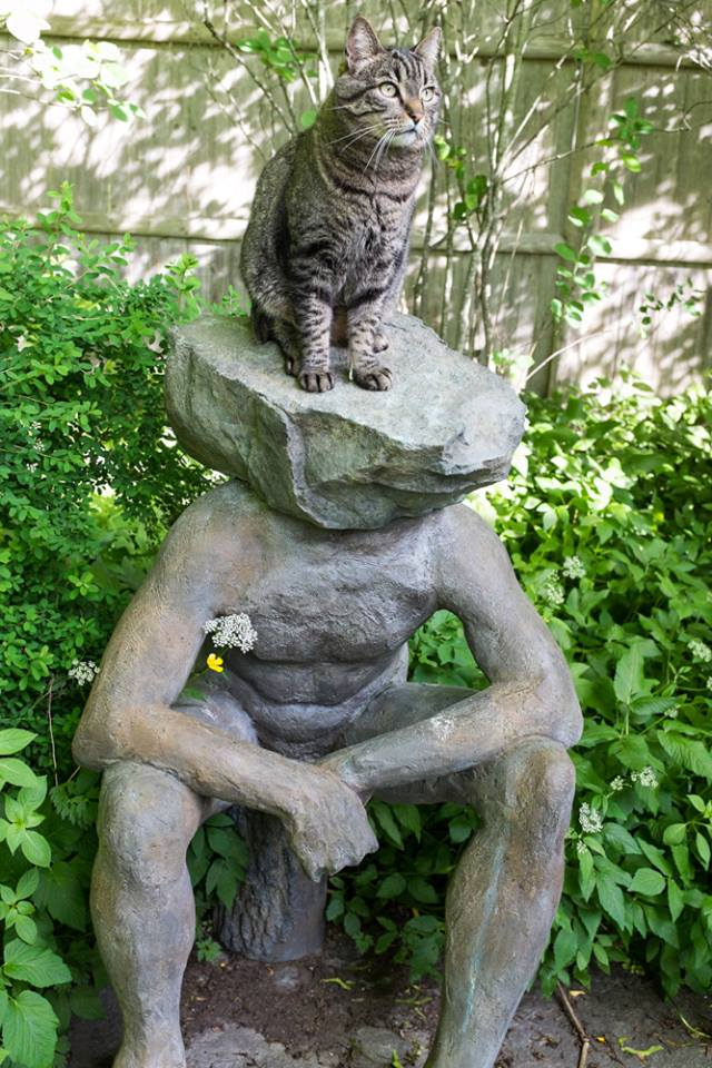 Sculpture with flowery underarm deodorant and a cat on its head