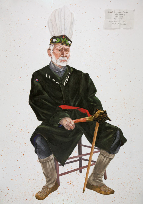 "Wabanaki - Chief Benjamin Pictou, Mi'Kmaq, 2013. Watercolor and gouache on paper, 48"" x 34"""