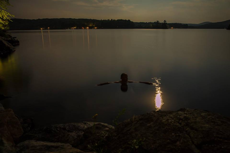 Night swim, Lake Megunticook.