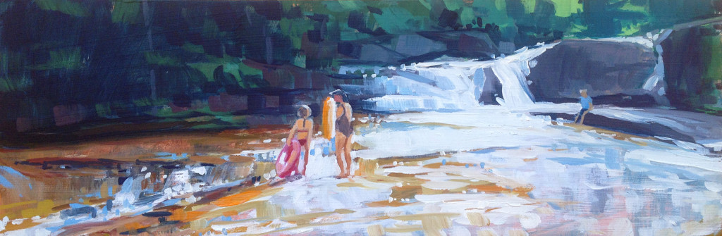 """""""Before The Falls,"""" 4 x 12 inch oil on panel by Jessica Ives"""