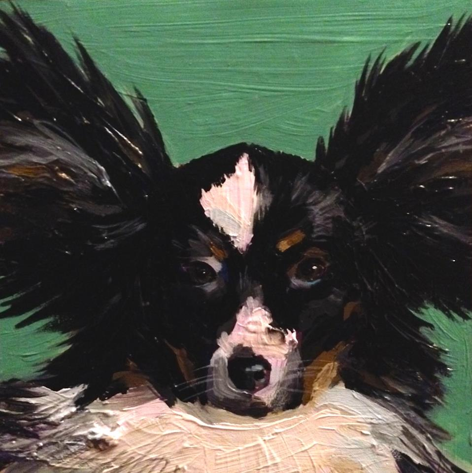 "That's Eli, he's 8""x8"", acrylic on wood panel."