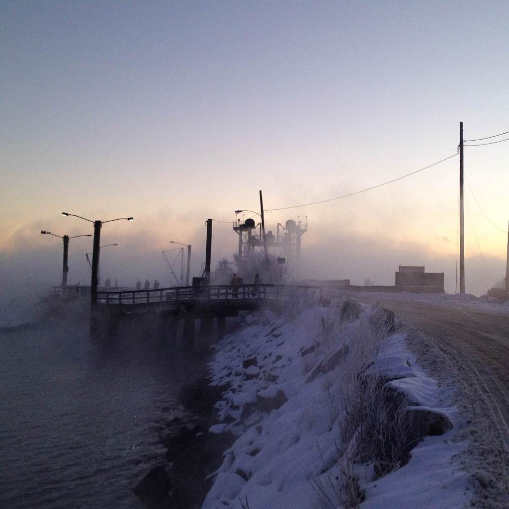 Sea smoke, just before sunrise, Lincolnville Beach Ferry Terminal, -9 Fahrenheit.