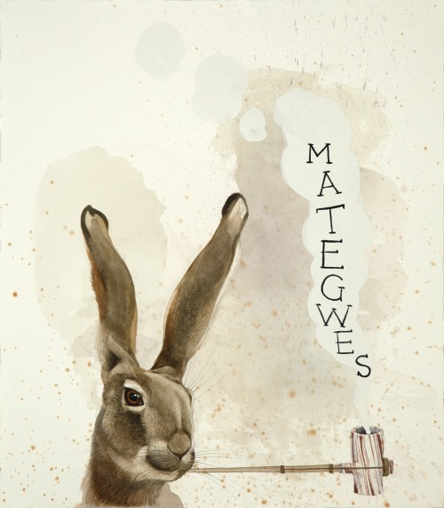 "Mategwes - The Rabbit Magician, 2014.  Watercolor, gouache and ink on paper, 18"" x 16"""
