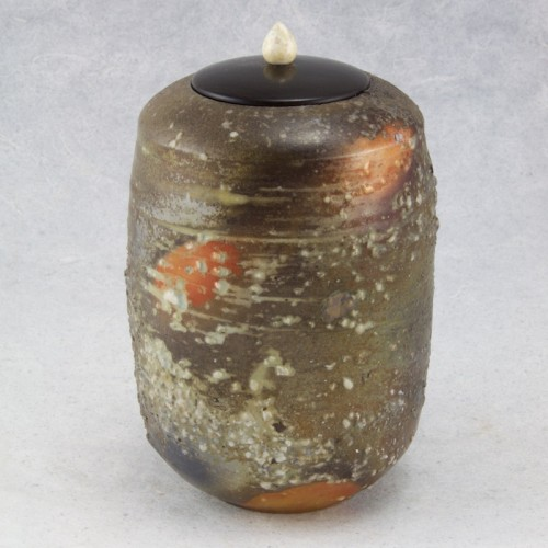 Wood-fired porcelaneous stoneware with inclusions, wonderstone lid with mastodon ivory knob (turned by Jeff Spera, 5.75h x 3.5w, $375
