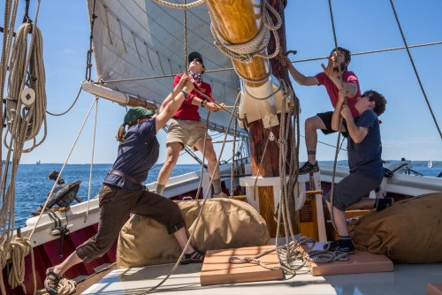 Mary Day crew tacks the fore topsail