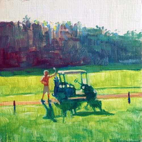 Putt Putt oil on panel by Jessica Lee Ives